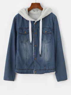 Hooded Faux Fur Lining Pocket Denim Jacket - Blue S