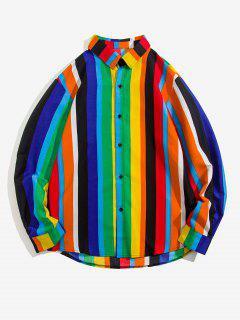 Camisa Manga Larga Estampado Tiburón Rayado - Multicolor Xl