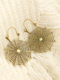 Halloween Spider Web Drop Earrings - Golden