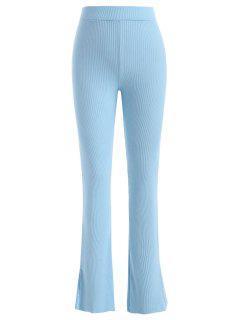 High Waisted Slit Ribbed Flare Pants - Light Blue S