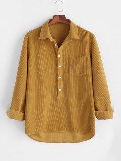 Long Sleeve Solid Corduroy Half Button Shirt - Deep Yellow 3xl