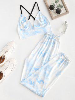 Tie Dye Zigzag Două Pantaloni Set De Piese - Albastru S