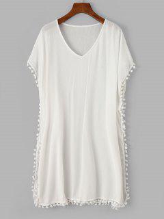 ZAFUL Pom Pom V Neck Poncho Cover Up Dress - White S