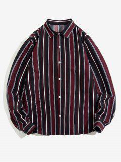 Striped Feather Print Long Sleeve Shirt - Deep Red 2xl