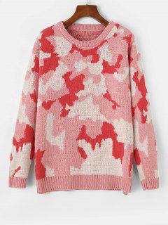 Drop Shoulder Camouflage Crew Neck Sweater - Flamingo Pink