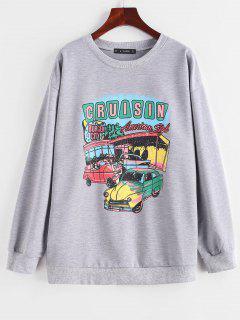 Letter Car Print Drop Shoulder Pullover Sweatshirt - Light Gray S