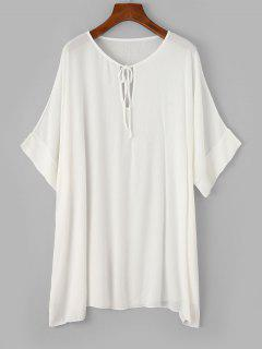 ZAFUL Keyhole Batwing Sleeve Tunic Beach Dress - White S