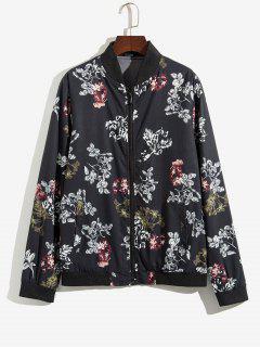 Veste Zippée Fleur Et Plante Imprimées - Noir M