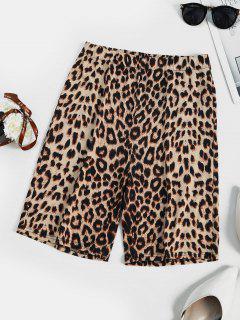 Leopard Animal Printed High Rise Biker Shorts - Coffee M
