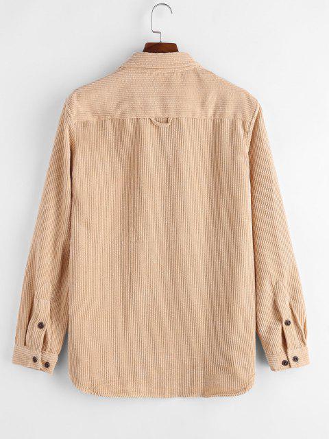 Camisa de Pana con Bolsillos Dobles - Amarillo claro 2XL Mobile