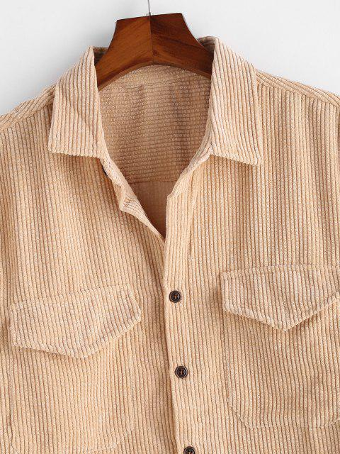 unique Double Pockets Button Up Corduroy Shirt - LIGHT YELLOW 3XL Mobile