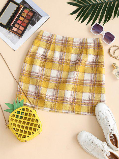 ladies Plaid Flannel A Line Skirt - YELLOW M Mobile