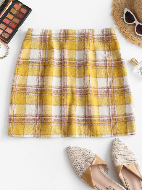 online Plaid Flannel A Line Skirt - YELLOW S Mobile