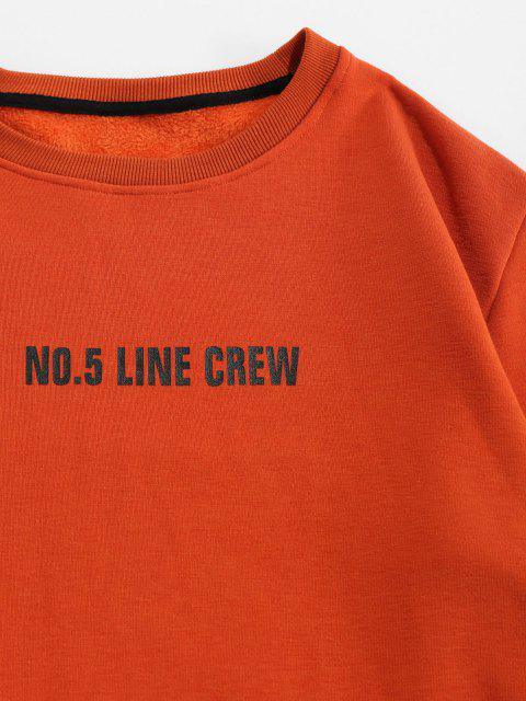 shops Line Crew Letter Print Crew Neck Sweatshirt - COFFEE L Mobile
