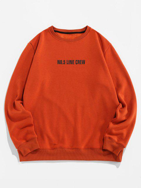 trendy Line Crew Letter Print Crew Neck Sweatshirt - COFFEE 2XL Mobile