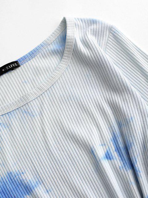 sale Ribbed Tie Dye Tie Waist Pep Hem Tee Dress - LIGHT BLUE L Mobile