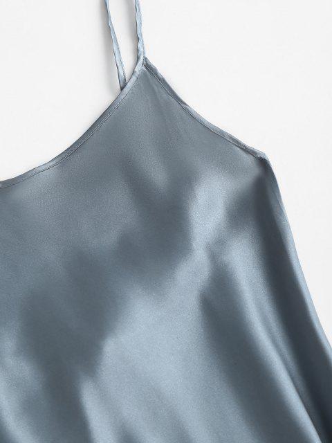 Schlaf Schlitz Seidiger Satin Slip Kleid - Helles Blau XL Mobile