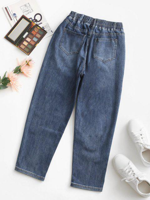 lady Elastic High Waisted Pocket Mom Jeans - DEEP BLUE L Mobile