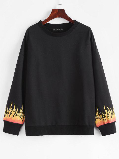 hot Flame Print Drop Shoulder Loose Sweatshirt - BLACK L Mobile