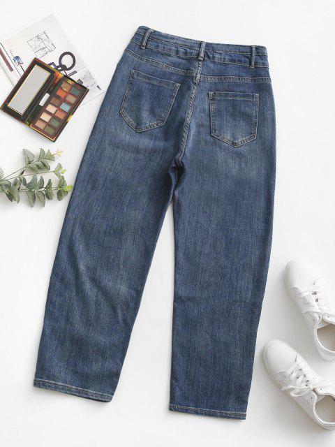 Pantalones Jeans Cintura Alta y Bolsillos - Azul M Mobile