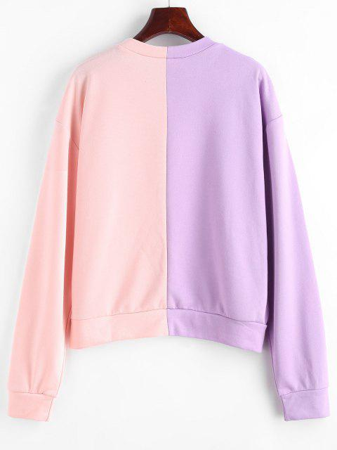 Graphic Two Tone Drop Shoulder Sweatshirt - متعدد S Mobile
