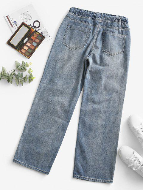 outfit Grunge Drawstring Ripped Straight Jeans - LIGHT BLUE L Mobile
