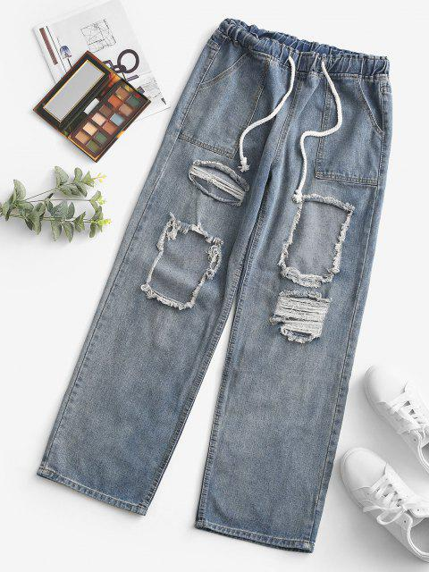 shops Grunge Drawstring Ripped Straight Jeans - LIGHT BLUE S Mobile