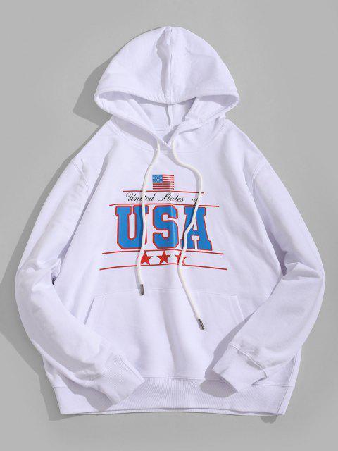 women's USA Graphic Kangaroo Pocket Hoodie - WHITE M Mobile