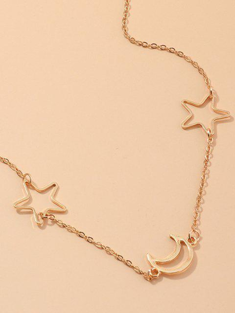 latest Hollow Moon Star Shape Waist Chain - GOLDEN  Mobile