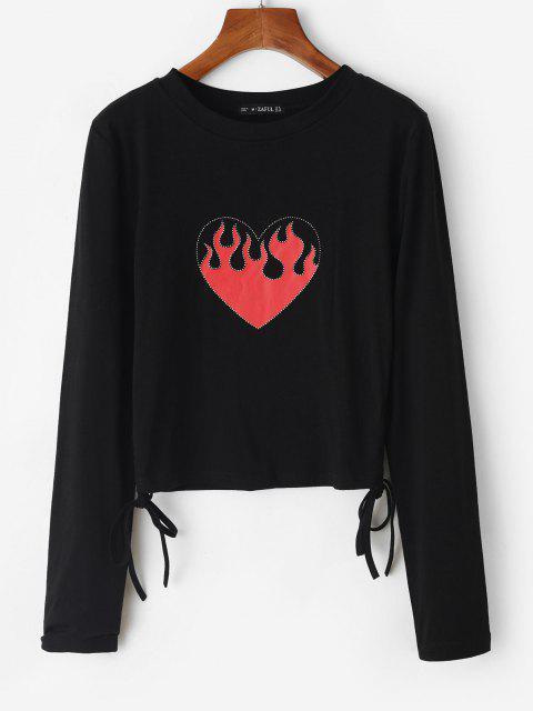 Glänzendes Flammen Herzdruck Geschnürte Crop T-Shirt - Schwarz M Mobile