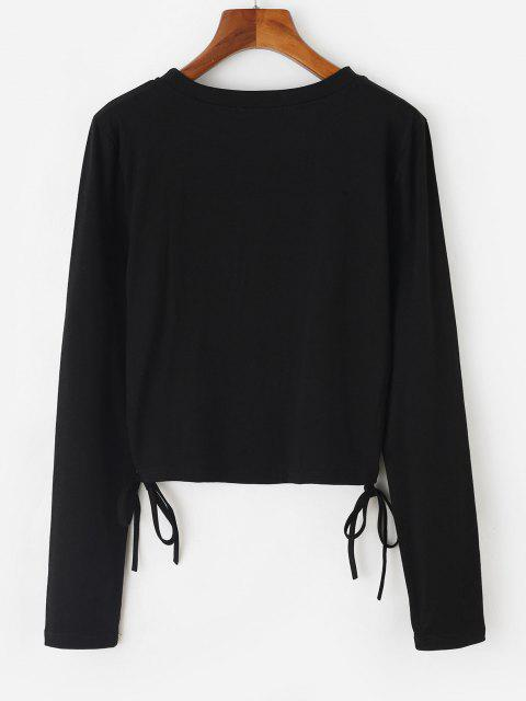 sale Shiny Flame Heart Print Cinched Crop T-shirt - BLACK XL Mobile