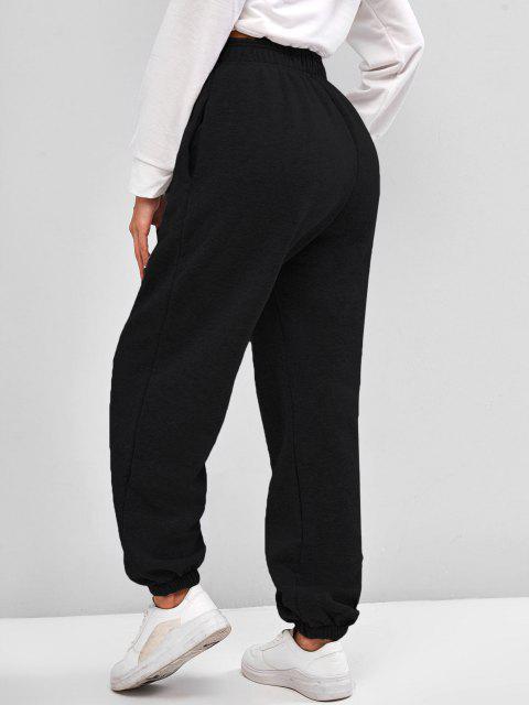Vlies Gefütterte Tasche Beam Füße Hoch Taillierte Hose - Schwarz L Mobile