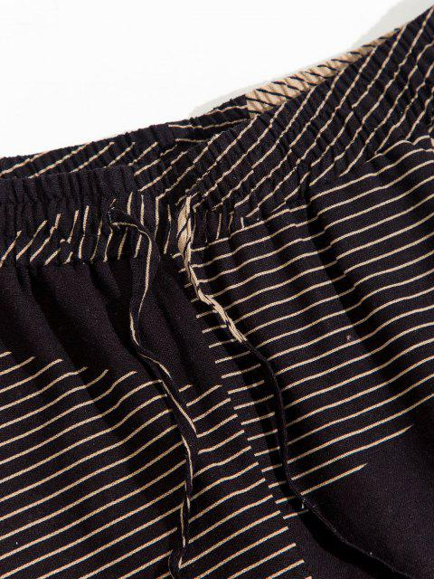 shops ZAFUL Striped Geometric Pattern Beam Feet Pants - DEEP COFFEE 2XL Mobile