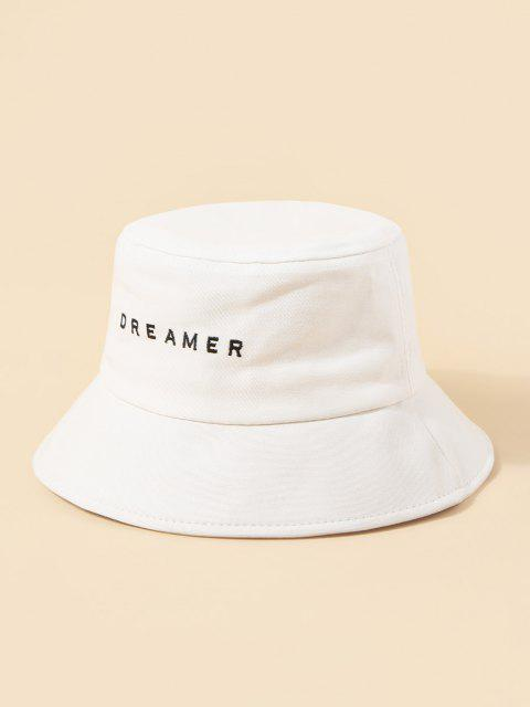 outfits Brief Embroidery Dreamer Bucket Hat - WHITE  Mobile