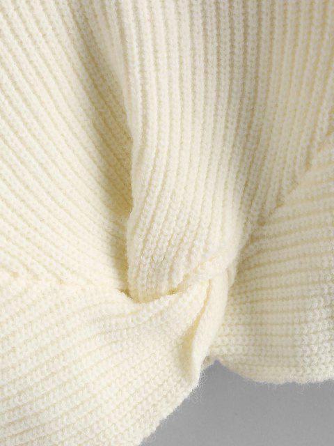 ladies Twisted V Neck Crop Sweater - WARM WHITE ONE SIZE Mobile