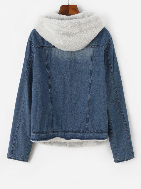 affordable Hooded Faux Fur Lining Pocket Denim Jacket - BLUE S Mobile