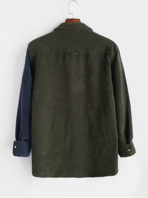 sale Colorblock Corduroy Long Sleeve Pocket Patch Shirt - DEEP GREEN L Mobile
