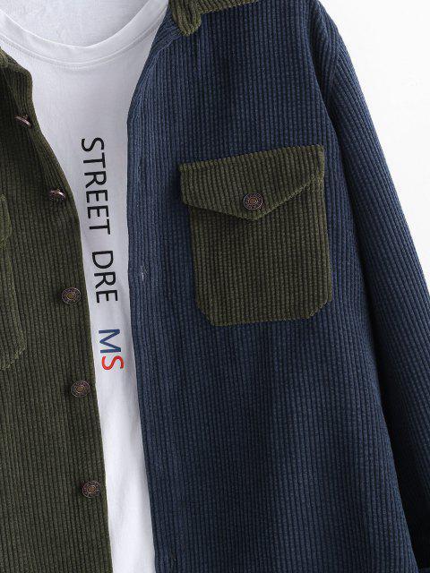 配色コーデュロイ長袖ポケットパッチシャツ - 深緑 3XL Mobile