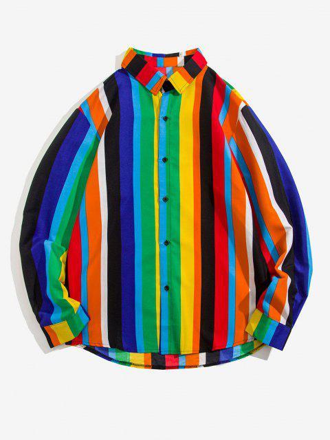 women Stripes Shark Print Long Sleeve Shirt - MULTI XL Mobile