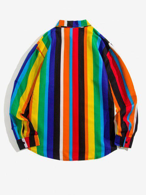 shop Stripes Shark Print Long Sleeve Shirt - MULTI 2XL Mobile