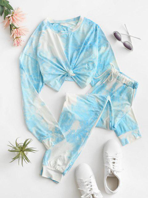 fancy Tie Dye Drawstring Pocket Two Piece Pants Set - LIGHT BLUE M Mobile