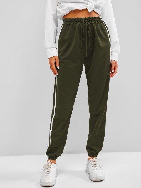 new Contrast Side Tie Detail Jogger Pants - LIGHT GREEN L Mobile