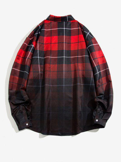 オンブルチェック柄印刷長袖シャツ - 赤 S Mobile