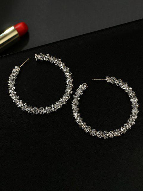 trendy Textured Hoop Earrings - SILVER  Mobile