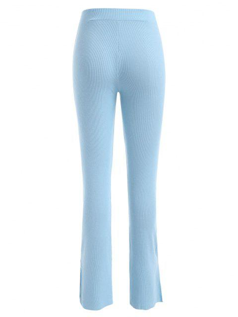 best High Waisted Slit Ribbed Flare Pants - LIGHT BLUE L Mobile