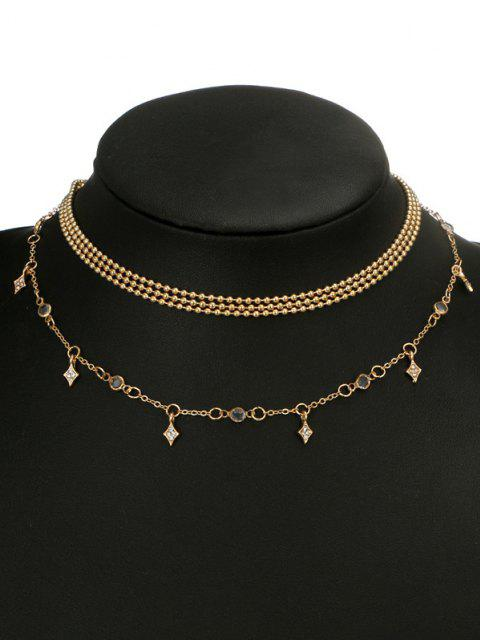 sale Multi-layered Rhinestone Geo Chain Necklace - GOLDEN  Mobile