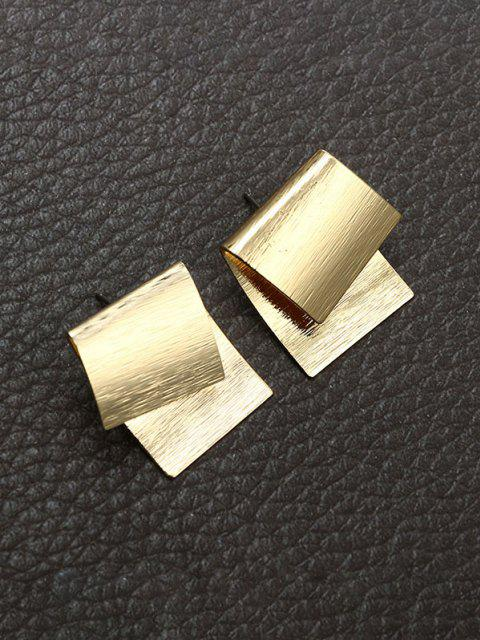 buy Overlapping Geometric Stud Earrings - GOLDEN  Mobile