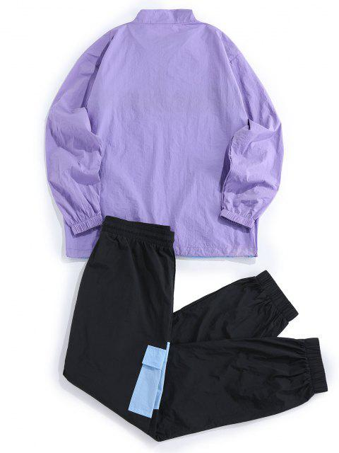 lady ZAFUL Colorblock Panel Jacket and Pants Set - MULTI S Mobile