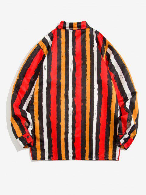new Contrast Stripe Print Long Sleeve Shirt - YELLOW XL Mobile