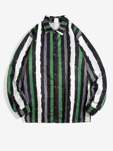 shops Contrast Stripe Print Long Sleeve Shirt - GREEN M Mobile